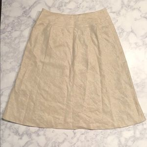 Talbots Skirt Tan Linen Holiday Sparkle A Line 6